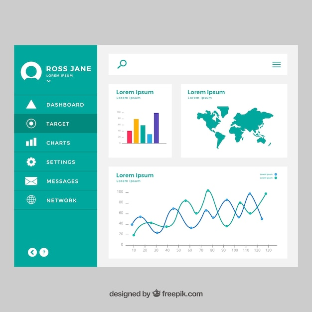 Admin Dashboard Template With Flat Design Vector