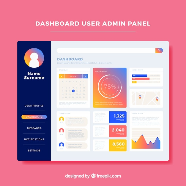 Admin Dashboard Template With Flat Design Vector Free Download