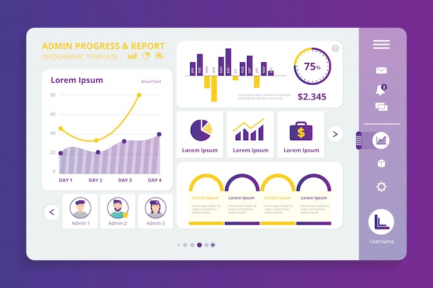 Admin progress infographic template Premium Vector