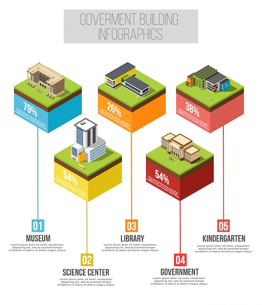 Administrative building isometric infographics Free Vector