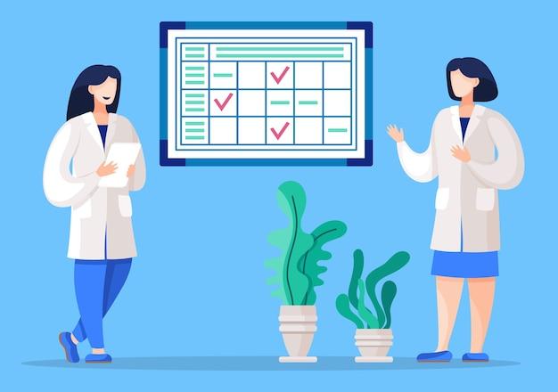 Административный работник организует рабочий процесс в больнице Premium векторы