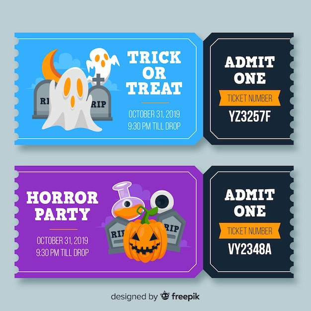 Admit one halloween tickets with numbers Free Vector