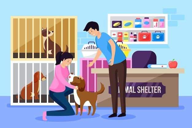 Примите иллюстрацию концепции домашнего животного Premium векторы