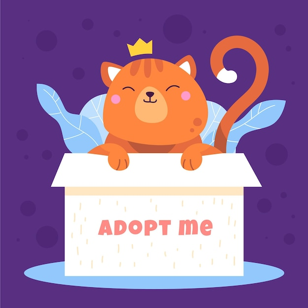 Принять концепцию питомца с кошкой в коробке Бесплатные векторы