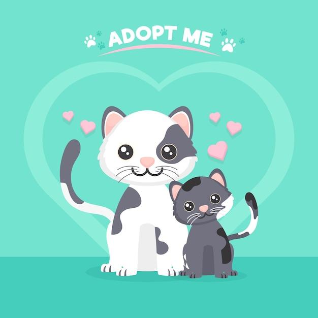 귀여운 고양이와 애완 동물 개념을 채택 프리미엄 벡터