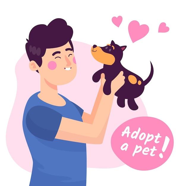 Принять концепцию питомца с собакой и человеком Бесплатные векторы