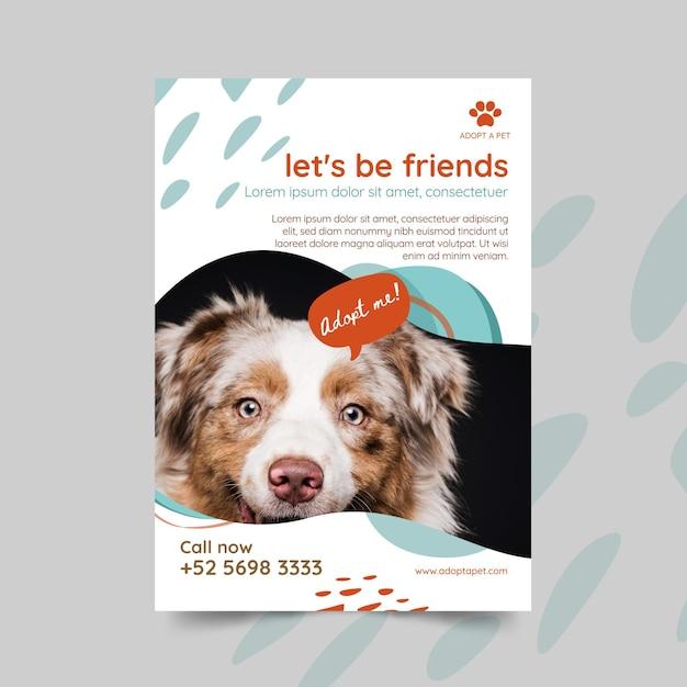 Возьмите листовку с домашним животным Бесплатные векторы