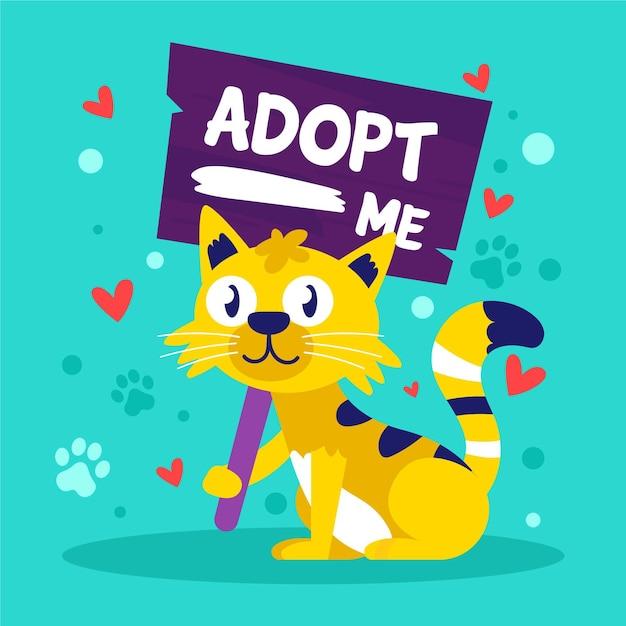 Примите иллюстрацию домашнего животного с кошкой Бесплатные векторы
