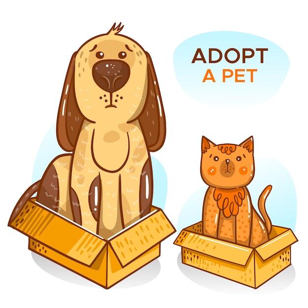 Примите иллюстрацию домашнего животного с собакой и кошкой Бесплатные векторы