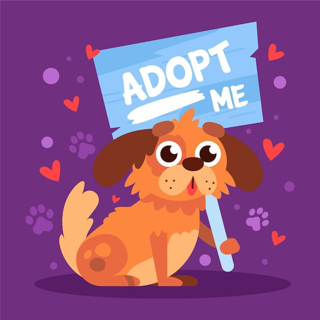 Принять домашнее животное иллюстрации с собакой Premium векторы