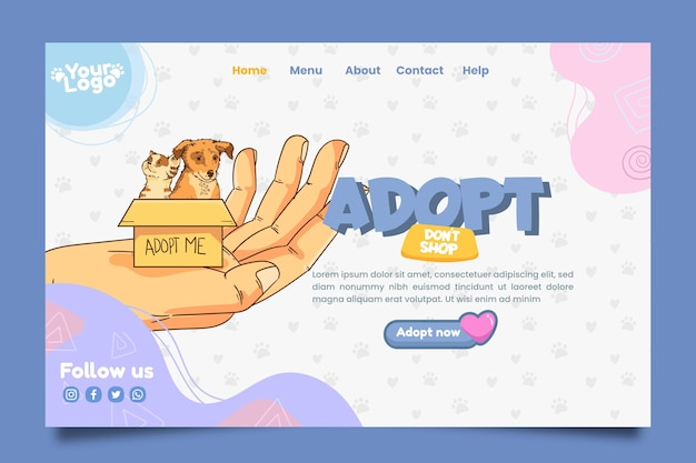 애완 동물 방문 페이지 템플릿 채택 무료 벡터