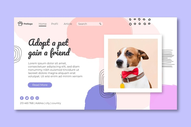 Создайте целевую страницу для домашних животных Бесплатные векторы