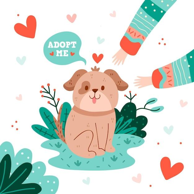 Принять щенка домашнего животного, являющегося домашним животным Бесплатные векторы