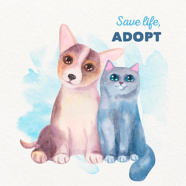 Принять домашнее животное акварельные иллюстрации Бесплатные векторы