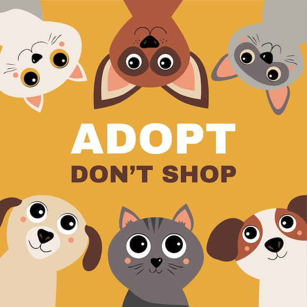 Adopt a pet concept with cats and dogs Free Vector
