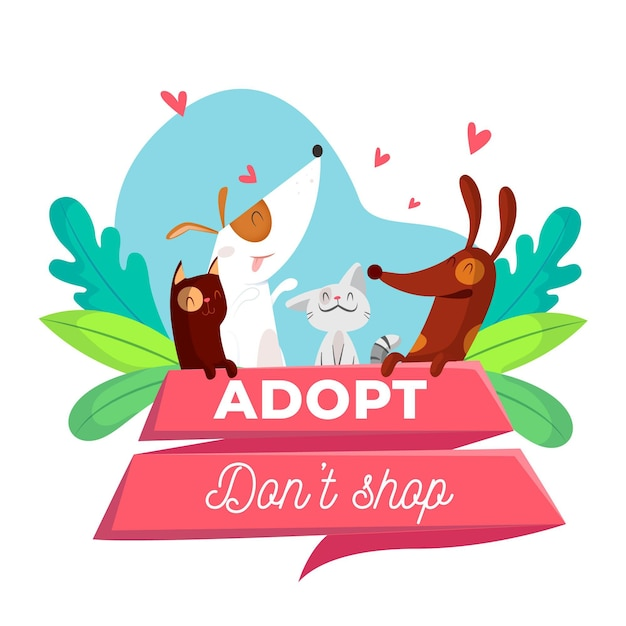 Adopt a pet concept Premium Vector