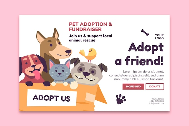 Adopt a pet from shelter landing page template Free Vector