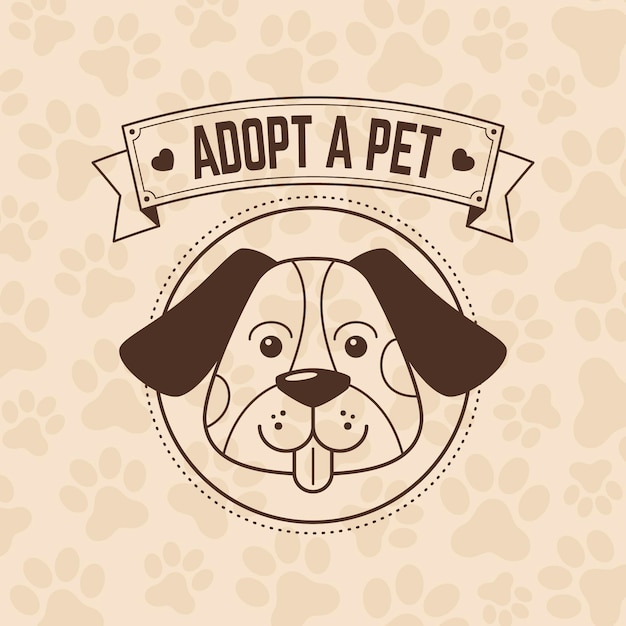Adopt a pet illustration with dog Free Vector