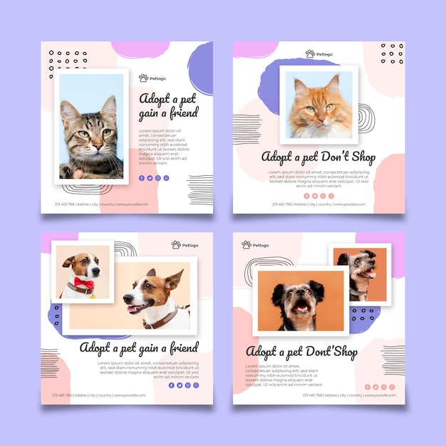 Adopt a pet instagram posts Free Vector