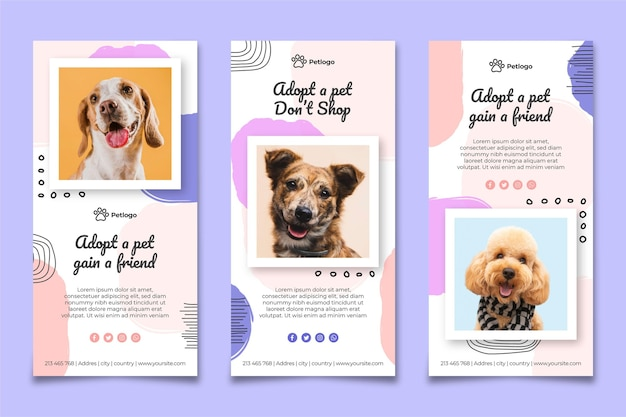 Adopt a pet instagram stories Free Vector