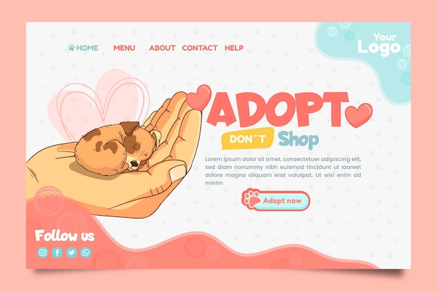 Adotta una pagina di destinazione per animali domestici Vettore gratuito