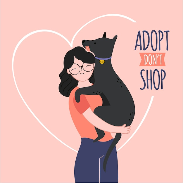 Adopt a pet with woman and dog Premium Vector