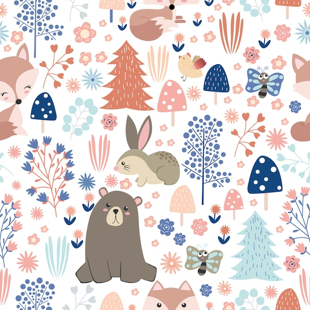 Adorable animals and forest in seamless pattern Premium Vector