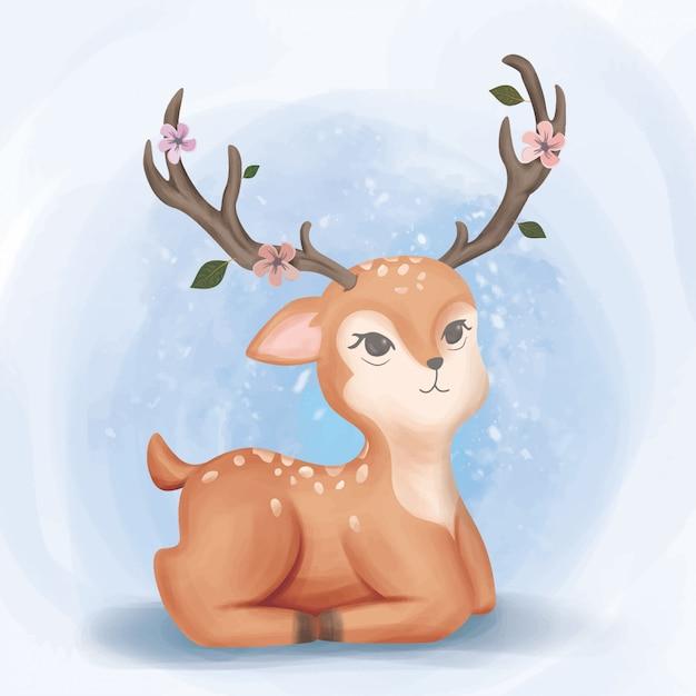 Adorable baby deer look up watercolor Premium Vector