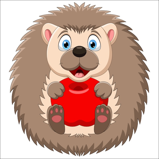 Adorable baby hedgehog sitting with apple  on white background Premium Vector