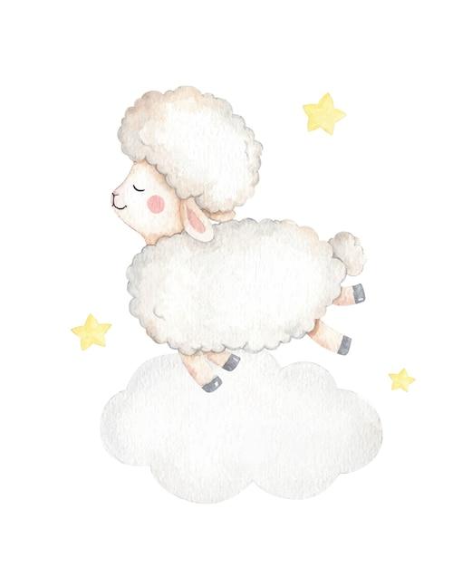 Очаровательная детская овца иллюстрация Premium векторы