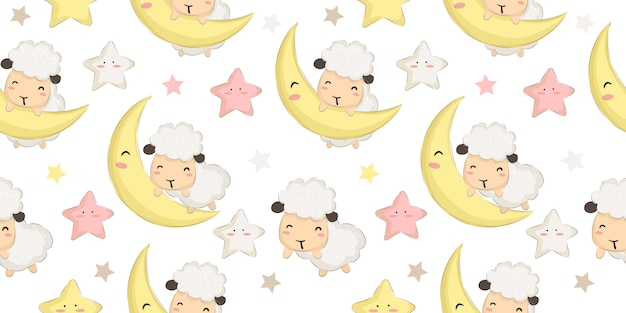 Adorable baby sheep and moon seamless pattern Premium Vector