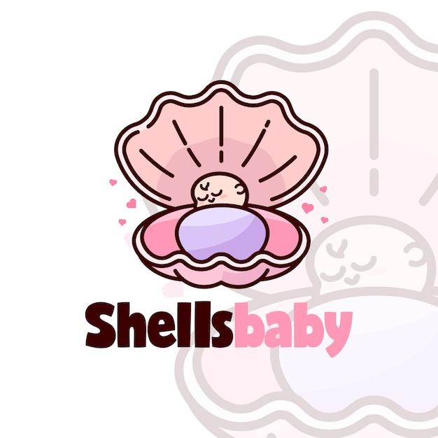 シェル漫画のロゴで眠っている愛らしい赤ちゃん Premiumベクター