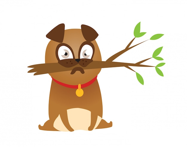 Adorable beige pug puppie with branch. Premium Vector