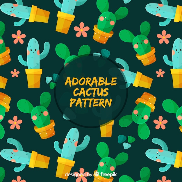 Adorable cactus pattern Free Vector