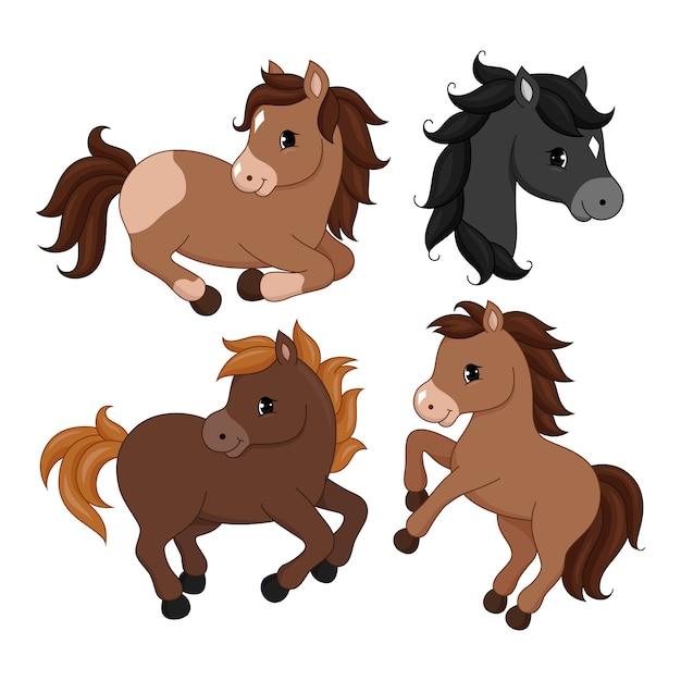 Adorable cartoon horse character. Premium Vector