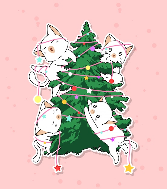 Adorable cat characters with a christmas tree Premium Vector