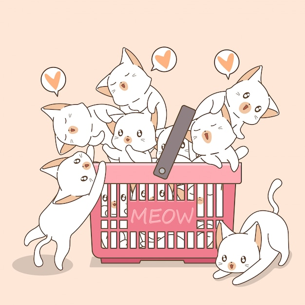 Adorable cats in the pink basket Premium Vector