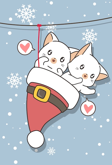 Adorable cats in the santa hat were hung Premium Vector