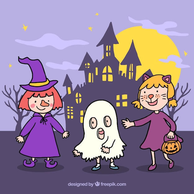 Adorable children with halloween\ costumes