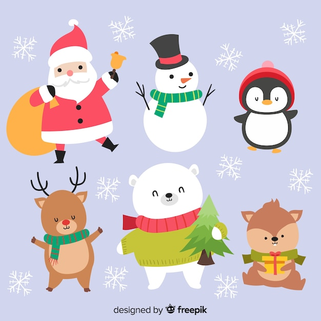 Adorable christmas characters collection Vector