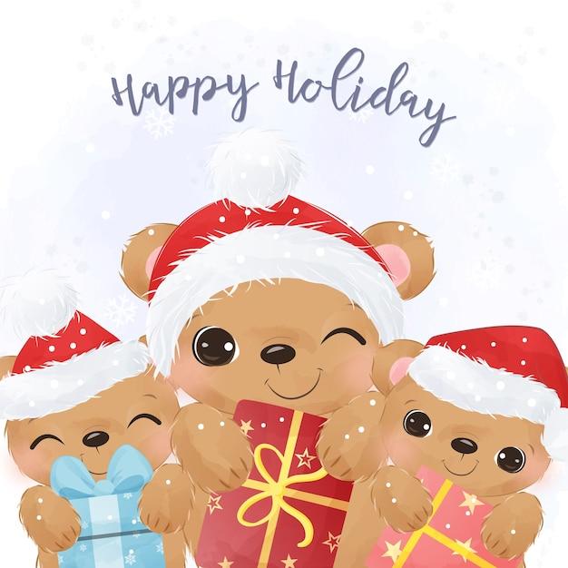 귀여운 곰 삽화와 함께 사랑스러운 크리스마스 인사말 카드입니다. 프리미엄 벡터