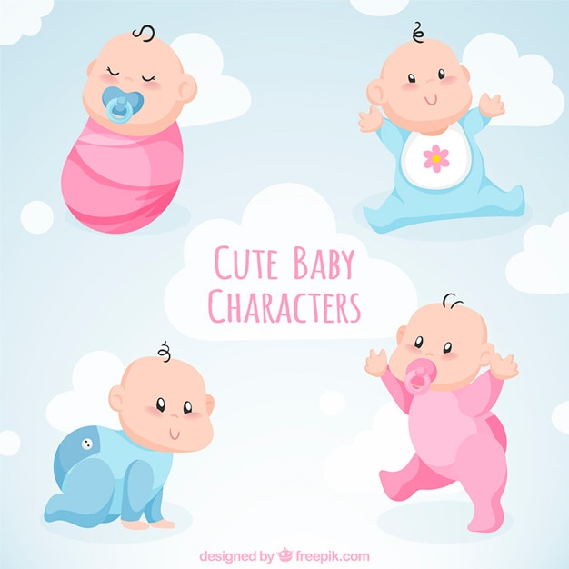 Adorable collection of four babies Free Vector