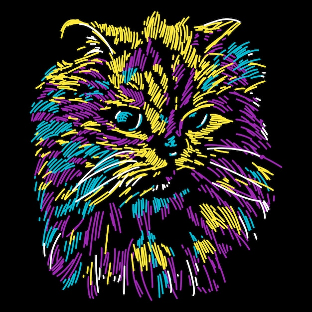 Adorable colorful abstract cat illustration Premium Vector