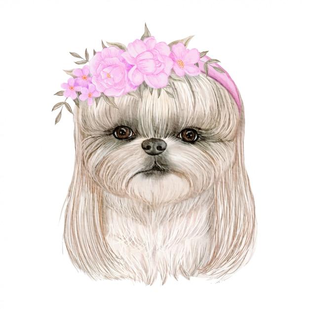 髪と花の王冠水彩イラストとかわいいかわいい犬 Premiumベクター