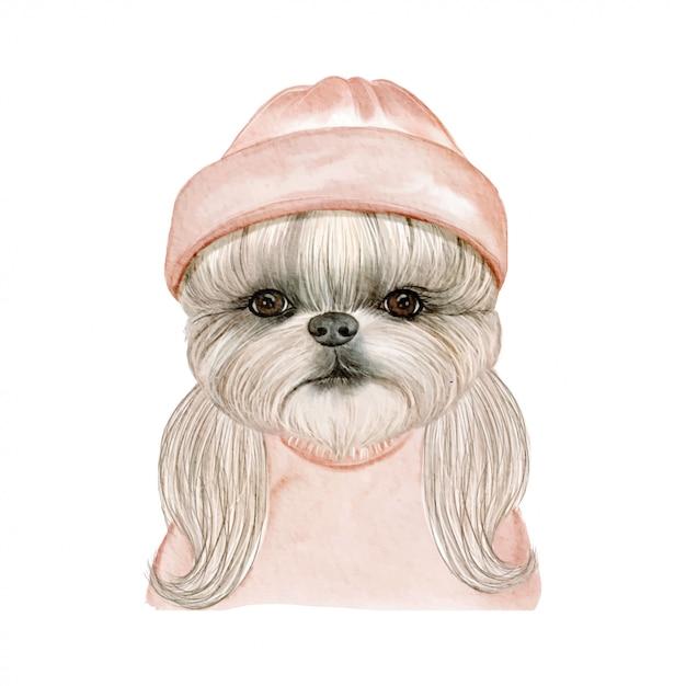 帽子の水彩イラストが愛らしいかわいい犬 Premiumベクター
