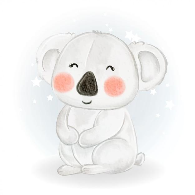 사랑스러운 귀여운 귀여운 아기 코알라 수채화 그림 프리미엄 벡터