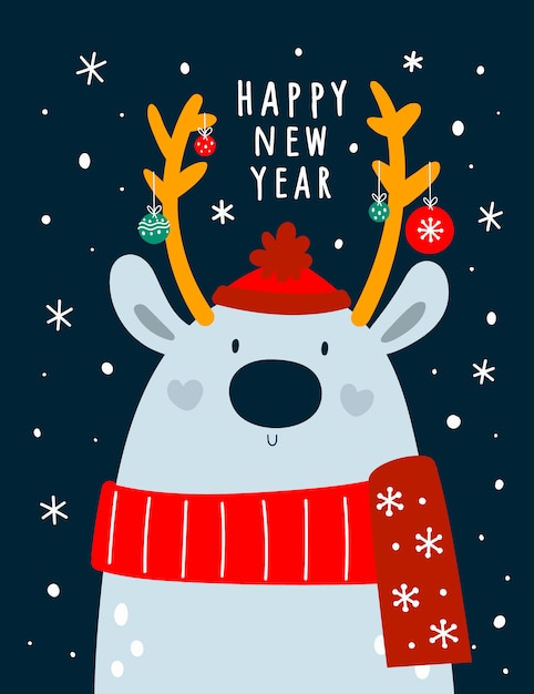 Adorable deer in scarf and hat with festive christmas decoration. Premium Vector