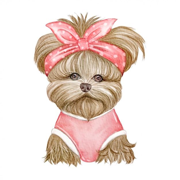 赤いリボンの水彩イラストがかわいい犬 Premiumベクター