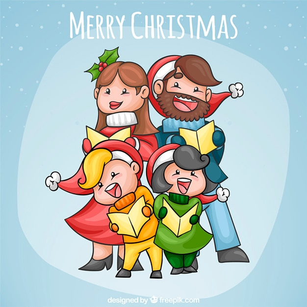Adorable family singing for christmas Free Vector