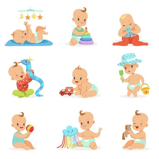 Очаровательные девчонки из мультфильма girly играют со своими игрушками и игрушками Premium векторы